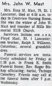 Essie Mast (Williams) Obituary