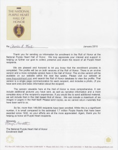Purple Heart Hall of Honor Letter