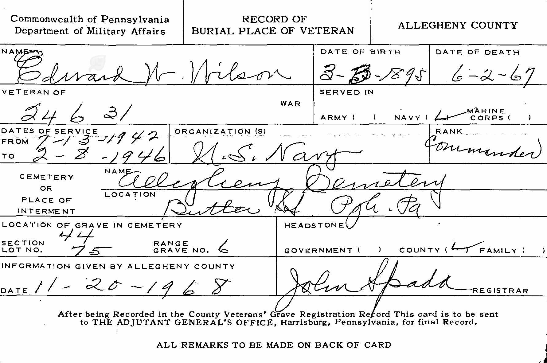 Edward Wilson Burial Card